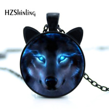 New Nordic Wiccan Wolf Necklace Wolf Pendant Jewelry Glass Photo Cabochon