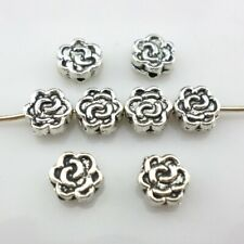 40/80pcs Tibetan Silver Flower Charm Loose Spacer Beads 6x3mm Jewelry Findings