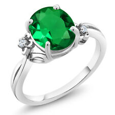 2.23 Ct Green Simulated Emerald White Created Sapphire 925 Sterling Silver Ring