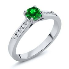 0.96 Ct Green Simulated Emerald White Created Sapphire 925 Sterling Silver Ring
