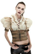 Shirt cream and brown in sleeves puff woman steampunk Punk r Punk Rave