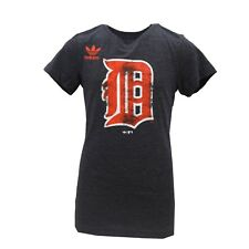 Detroit Tigers Official MLB Adidas Kids Youth Girls Size Distressed T-Shirt New