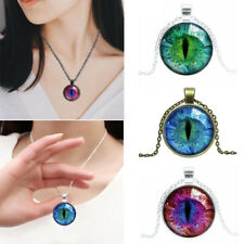 Women Gothic Cat Eye Pupil Glass Cabochon Pendant Necklace Jewelry Chain Cool