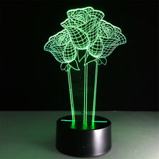 Rose Flower 3D Visual Night Light 7 Colors Change LED Desk Lamp Bedroom
