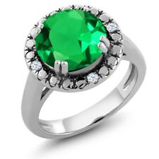3.50 Ct Green Simulated Emerald White Created Sapphire 925 Sterling Silver Ring