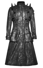 long coat man imitation black leather with point, gothic Punk roc Punk Rave