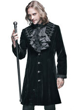 Coat embroidered with col adjustable man black velvet gothic vampir Devil Fashio