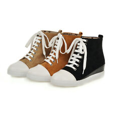 New Women Ankle Boots Booties Wedge Heel Casual Shoes Platform Round Toe Lace Up