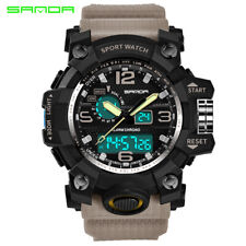 SANDA Mens Sport Military Wrist Watch Quartz Analog Digital World Time GMT Watch