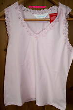 Sequence Pink Sleeveless Cotton Lace Trim Vest - BNWT Size 14