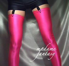 NEON PINK SHINY OPAQUE SPANDEX STOCKINGS XS-XXXL Tall
