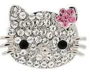 Hello Kitty Face Flower Ribbon Crystal Pave Adjustable Ring Band More Colors