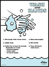 Wash Your Hands - Safety Poster - Laminated