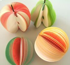 FRIUT SHAPED NOTE/MEMO PAD APPLE ORANGE PEAR MELON PICK