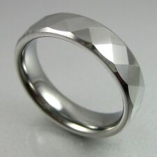 6mm FACET TUNGSTEN MENS RING WEDDING BAND SIZE 7-13