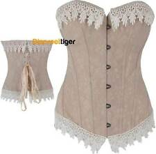 Corset Top Beige with a Touch of Soft Pink Brocade Vintage Victorian DTS00228