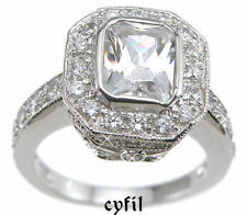 925 Sterling Silver Emerald Cut CZ Engagement Wedding Ring Antique Style 5-9