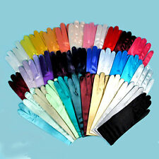 Wrist Length Satin Stretch Gloves, Cool Colors