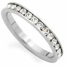Clear CZ Eternity Love Silver-tone Stainless Steel Unisex Wedding Ring Band 3mm