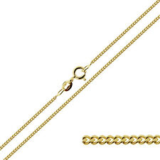 """SOLID 9CT YELLOW GOLD 16 18 20"""" INCH FINE CURB CHAIN UK"""