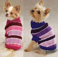 CUTE GIRLIE PINK RIBBED KNIT STRIPED DOG SWEATER