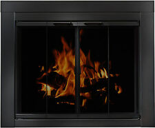 Residential Retreat Masonry Fireplace Doors - Blk Steel Finish Tempered - BiFold