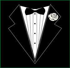 Tuxedo Tux T-shirt For Bachelor Party Wedding Tie Groom Suit black Funny Tee