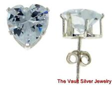 Sterling Silver Heart Stud Earrings Clear CZ's New 925