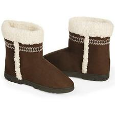 ISOTONER CHOCOLATE BROWN Women's Microsuede SherpaSoft Trim Boot Slippers