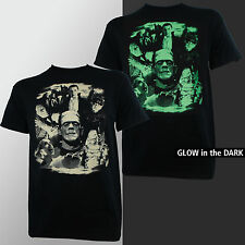 Universal Monsters Collage Dracula Frankenstein Bride Glow T-Shirt S-2XL NEW