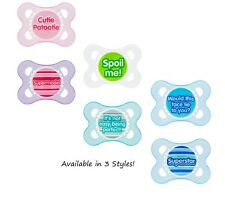 NEW MAM Baby Pacifiers 2+ Mo Sayings Boy Girl Neutral