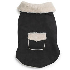 CLASSY SHERPA FAUX SUEDE DOG JACKET -BLACK (CLEARANCE)