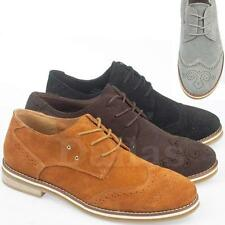 MENS LEATHER SUEDE BROGUE SHOES SMART FORMAL WORK LACE CASUAL SHOES SIZE