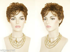 Striking and Chic Short Layered Wavy Gelled Look Grey Brunette Red Wigs