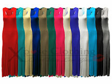 WOMENS RACER MUSCLE BACK MAXI DRESSES LADIES LONG SKIRT SUMMER HOLIDAY DRESS TOP