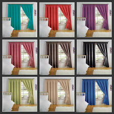 NEW LIGHT REDUCING SEMI BLOCK OUT PLAIN THERMAL BACKED LINED PAIR OF CURTAINS