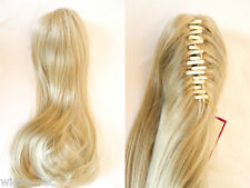 19 in Long Blonde Grey Red Straight Clip-in-Extensions Claw Clip Hair Pieces