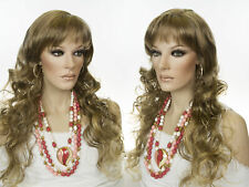 Long and Wavy Hairstyle with a skin Top Side Part and Bangs Blonde Red Wigs