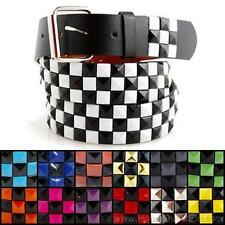 3-Row Metal Pyramid Studded Leather Belt 2-Tone Checker Punk Rock Goth Emo Black