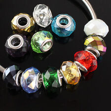 FACETED CRYSTAL GLASS EUROPEAN CHARM BEADS FINDINGS FIT BRACELETS 9X14 MM