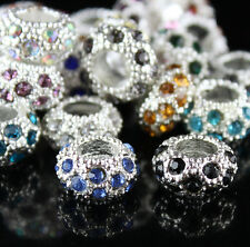 Czech Crystal Silver Plated Large Hole Charm Spacer Beads 6x11mm Fit Bracelet