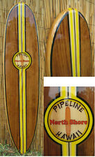 Pipeline Decorative Wood Surfboard Wall Art by Tiki Soul with epoxy finish
