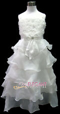 Ivory Rosette Wedding Flower Girls Pageant Dress Long Gown Size 3-12 Age 2-13Y