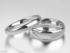 New Palladium 500 Court Shape Band His & Hers set of Wedding Rings 3mm + 5mm