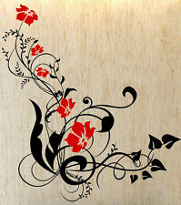 Colourful Vine Flowers And Swirls - Large Vinyl Wall Sticker. Many colours.