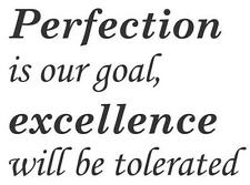 Perfection Is Our Goal Excellence Will Be...Vinyl  Wall Decal Sticker Home Decor
