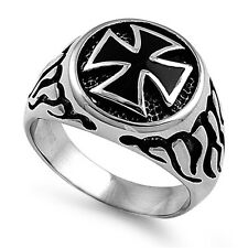 Mens Iron Cross With Flames Ring Stainless Steel