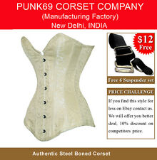 New Fully Steel Boned Extra Long Ivory Brocade Tight Lacing Corset