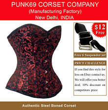 New Fully Steel Boned Sweet Heart Red - Black 200 Brocade Tight Lacing Corset
