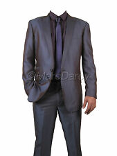 MENS PURPLE SUIT TWO TONE SHINY SUIT SINGLE BUTTON IDEAL FOR WEDDINGS/FUNCTIONS